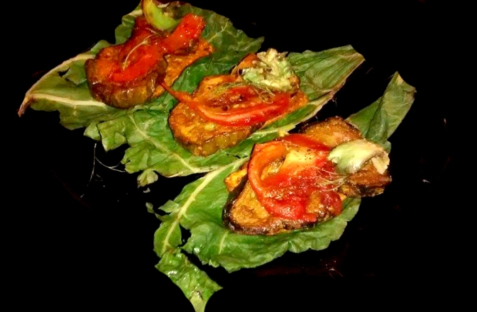 Breadless Roasted Eggplant Bruschetta